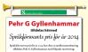 Klip fra artikel, der begrunder tildelingen af Språkförsvarets pris for 2014 til Pehr G. Gyllenhammar