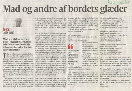 Billede af Jørn Lunds omtale af Modersmål-Selskabets årbog BOrdets glæder (Politiken, 24-10-2016)