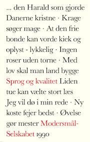 Forsiden til Modersmål-Selskabets årbog for 1990 med titlen Sprog og kvalitet