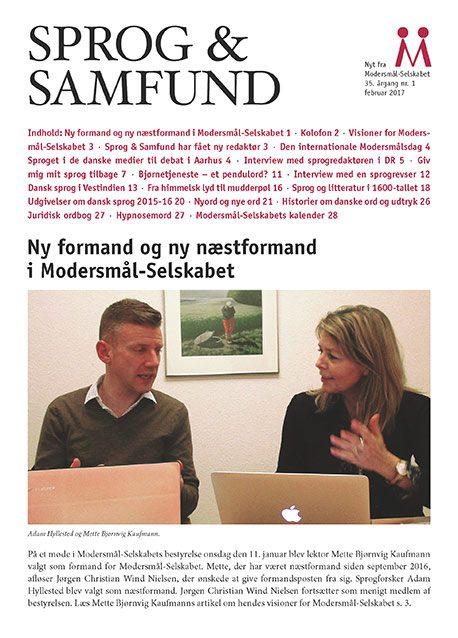 Forside på det nyeste nummer af Sprog & Samfund med indholdsfortegnelse og notits om Modersmål-Selskabets nye formandskab