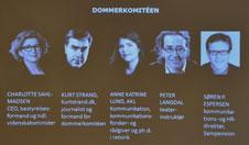 Foto af Powerpoint-dias med Sprogprisens 5 dommere